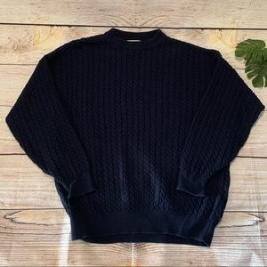 Vintage IZOD Cable Knit Navy Blue Cotton Sweater